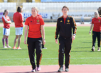20180228 - LARNACA , CYPRUS :  Belgian Justien Odeurs (left) and Aline Zeler pictured during a women's soccer game between The Belgian Red Flames and the Czech Republic , on wednesday 28 February 2018 at GSZ Stadium in Larnaca , Cyprus . This is the first game in group B for Belgium during the Cyprus Womens Cup , a prestigious women soccer tournament as a preparation on the World Cup 2019 qualification duels. PHOTO SPORTPIX.BE | DAVID CATRY