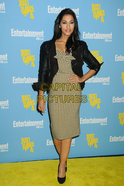 Janina Gavankar.Entertainment Weekly's Comic-Con 2012 Celebration held at the Hard Rock Hotel Float Lounge, San Diego, California, USA..July 14th, 2012.full length black leather jacket hand on hip beige dress print houndstooth dogtooth print .CAP/ADM/BP.©Byron Purvis/AdMedia/Capital Pictures.