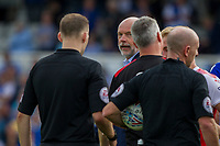 Fleetwood Town manager Uwe Rosler speaks with referee Andy Davies at full time of the Sky Bet League 1 match between Bristol Rovers and Fleetwood Town at the Memorial Stadium, Bristol, England on 26 August 2017. Photo by Mark  Hawkins.