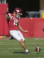 Hawgs Illustrated/BEN GOFF <br /> Connor Limpert kicks off to Missouri in the first quarter Friday, Nov. 24, 2017, at Reynolds Razorback Stadium in Fayetteville.