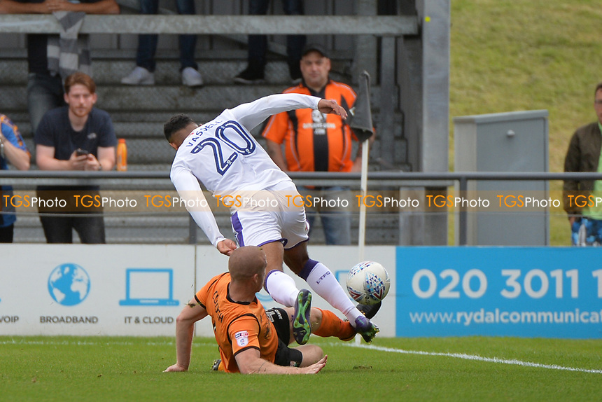 Charlie Clough of Barnet tackles Isaac Vassell of Luton Town during Barnet vs Luton Town, Sky Bet EFL League 2 Football at the Hive Stadium on 12th August 2017