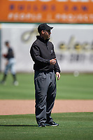 Field umpire Harrison Silverman during a California League game between the Modesto Nuts and the 66ers on April 10, 2019 at San Manuel Stadium in San Bernardino, California. Inland Empire defeated Modesto 5-4 in 13 innings. (Zachary Lucy/Four Seam Images)