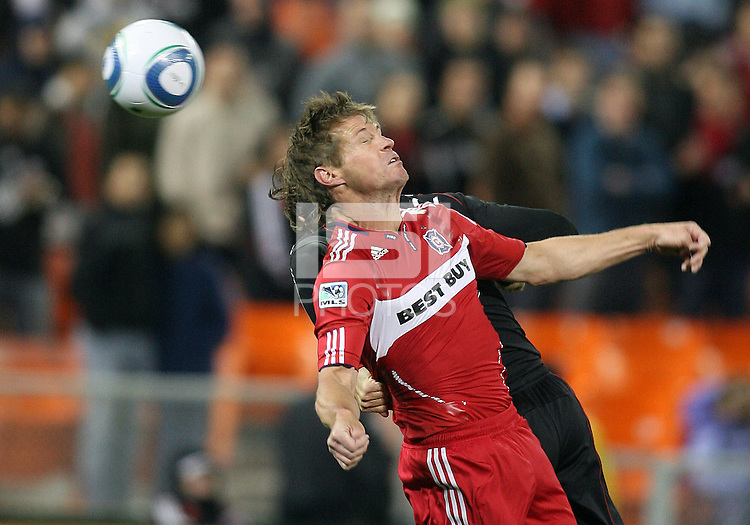 Brian McBride #20 of the Chicago Fire heads the ball backwards to score the second goa lfor the Fire during an MLS match against D.C. United on April 17 2010, at RFK Stadium in Washington D.C. Fire won 2-0.
