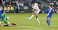 CARSON, CA – June 6, 2011: Guatemalan goalie Ricardo Jerez (1) blocks a shot on goal by Honduran Carlo Costly (13) during the match between Guatemala and Honduras at the Home Depot Center in Carson, California. Final score Guatemala 0, Honduras 0.