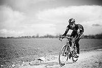 Bernie Eisel (AUT/Dimension Data) at sector 4: Carrefour de l'Arbre (2.1km)<br /> <br /> recon of the 114th Paris - Roubaix 2016