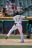 Rymer Liriano (27) of the Salt Lake Bees bats against the El Paso Chihuahuas at Smith's Ballpark on July 8, 2018 in Salt Lake City, Utah. El Paso defeated Salt Lake 15-6. (Stephen Smith/Four Seam Images)