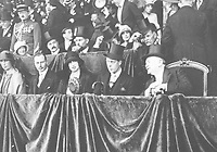 August-September 1920, Olympic Stadium, Antwerp, Belgium;  1920 Summer Olympic Games;  The Royal Box at the Olympic Games 1920; A total of 29 nations participated in the Antwerp Games, only one more than in 1912, as Germany, Austria, Hungary, Bulgaria and Ottoman Empire were not invited, having lost World War I.