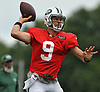 Bryce Petty #9, quarterback, throws a pass during New York Jets Training Camp at the Atlantic Health Jets Training Center in Florham Park, NJ on Tuesday, Aug. 8, 2017.