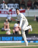 24th November 2019; Mt Maunganui, New Zealand;  Mitchell Santner bowling on day 4 of the 1st international cricket test match, New Zealand versus England at Bay Oval, Mt Maunganui, New Zealand.  - Editorial Use