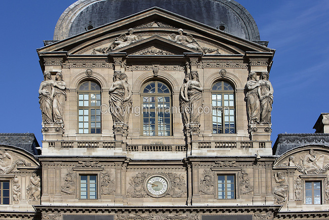 Caryatids, Pavillon Sully (western façade), built by Jacques Lemercier (1586-1654), ordered by Louis XIII in 1639, Louvre Museum, Paris, France Picture by Manuel Cohen