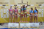 31.05.2015, Moskau, Vodny Stadion<br /> Moskau Grand Slam, Siegerehrung<br /> <br /> 2. Platz / Silber / Silbermedaille: Madelein Meppelink / Marleen van Iersel (NED), 1. Platz / Gold / Goldmedaille: Larissa Franca / Talita Antunes (BRA), 3. Platz / Bronze / Bronzemedaille: Marta Menegatti / Viktoria Orsi Toth (ITA)<br /> <br />   Foto © nordphoto / Kurth