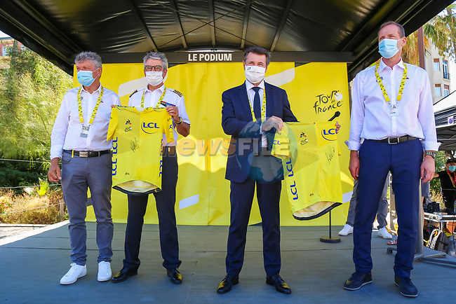 The Tour Village with Christian Estrosi, Mayor of Nice, Bernard Gonzalez, Prefet des Alpes-Maritimes, Christian Prudhomme Tour Director and Bernard Thevenet A.S.O. before the start of Stage 2 of Tour de France 2020, running 186km from Nice Haut Pays to Nice, France. 30th August 2020.<br /> Picture: ASO/Jonathan Biche   Cyclefile<br /> All photos usage must carry mandatory copyright credit (© Cyclefile   ASO/Jonathan Biche)
