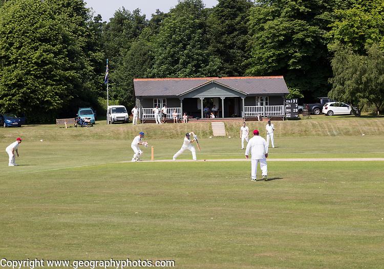 Cricket match at Sudbourne Hall cricket club ground, Sudbourne, Suffolk, England, UK