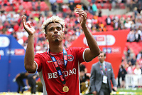 Lyle Taylor of Charlton celebrates their victory and promotion to the Championship during Charlton Athletic vs Sunderland AFC, Sky Bet EFL League 1 Play-Off Final Football at Wembley Stadium on 26th May 2019