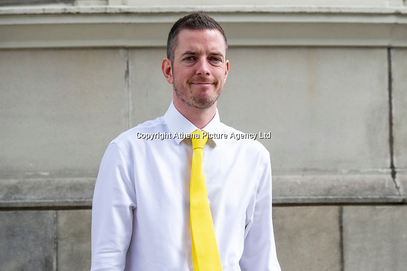 """Pictured: Ed Bridges arrives at Cardiff Civil and Family Justice Centre. Thursday 23 May 2019<br /> Re: Ed Bridges has launched the first major legal challenge over police use of surveillance equipment after his picture was taken while shopping in Cardiff, Wales, UK.<br /> He claims weak regulation means the technology breaches human rights.<br /> The hearing at the Civil and Family Court in Cardiff was told South Wales Police uses the equipment within the correct legal framework.<br /> Automatic facial recognition (AFR) technology maps faces in a crowd by measuring the distance between facial features then compares results with images on a force database - the """"watch list"""" - which can include suspects, missing people and persons of interest."""