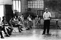 Padre Angel, giving a speech to a meeting of school leavers. Community of Nueva Esperanza, El Salvador, 1999.