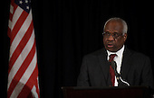 Associate Justice of the Supreme Court Clarence Thomas speaks at the memorial service for the late Associate Justice of the Supreme Court Antonin Scalia at the Mayflower Hotel in Washington, DC, Tuesday, March 1, 2016. <br /> Credit: Susan Walsh / Pool via CNP