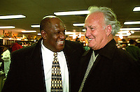 "Former Packers Willie Davis and Paul Hornung celebrate in the Packers' locker room on January 12, 1997 after Green Bay defeated the Panthers 30-13 to win the NFC Championship and advance to their first Super Bowl in 29 years. This was the first title game in Green Bay since the ""Ice Bowl"" in 1967."