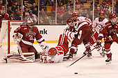 Merrick Madsen (Harvard - 31), Clayton Keller (BU - 19), Wiley Sherman (Harvard - 25), Jakob Forsbacka Karlsson (BU - 23), Jordan Greenway (BU - 18), John Marino (Harvard - 12) - The Harvard University Crimson defeated the Boston University Terriers 6-3 (EN) to win the 2017 Beanpot on Monday, February 13, 2017, at TD Garden in Boston, Massachusetts.