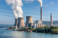 The Bruce Mansfield Power Station, a coal-fired power station operated by FirstEnergy on the Ohio River near Shippingport, PA.