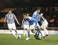 Chris Millar clears with the ball in the St Mirren v St Johnstone Clydesdale Bank Scottish Premier League match played at St Mirren Park, Paisley on 8.12.12.