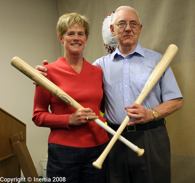 SIOUX FALLS, SD - APRIL 5: Dr. Sandy Jerstad, left, and Dr. Ken Kessinger pose for photos with their ceremonial bats during the dedication of the Jerstad-Kessinger Batting Cages on the Augustana campus in Sioux Falls.  (Photo by Dave Eggen/Inertia)