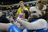 GB Mascot 'Pride the Lion' take a break during the EuroBasket 2015 2nd Qualifying Round Great Britain v Bosnia & Herzegovina (Euro Basket 2nd Qualifying Round) at Copper Box Arena in London. - 13/08/2014