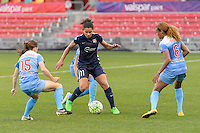 Bridgeview, IL, USA - Sunday, May 29, 2016: Chicago Red Stars midfielder Courtney Raetzman (15), Sky Blue FC forward Raquel Rodriguez (11), and Chicago Red Stars defender Casey Short (6) during a regular season National Women's Soccer League match between the Chicago Red Stars and Sky Blue FC at Toyota Park. The game ended in a 1-1 tie.