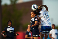 Sky Blue FC forward Monica Ocampo (8) goes up for a header with defender Julie King (8) of the Boston Breakers. Sky Blue FC defeated the Boston Breakers 5-1 during a National Women's Soccer League (NWSL) match at Yurcak Field in Piscataway, NJ, on June 1, 2013.