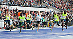31.08.2014, OLympiastadion, Berlin, GER, Leichathletik, ISTAF-2014, im Bild 100m , Herren, Dentalrius Locke (USA, Lucas Jakubczyk (GER)<br /> <br />               <br /> Foto &copy; nordphoto /  Engler