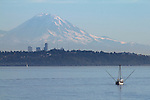 Seattle, Mount Rainier, from Kingston, Puget Sound, Washington State, Pacific Northwest, USA,