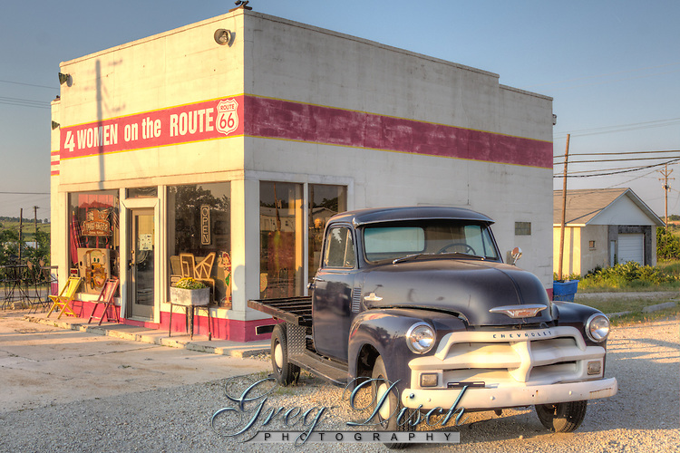 """The Historic Kan-O-Tex service station in Galena Kansas on route 66. The station has been restored and is now """"4 Women on the Route"""" a sandwich and gift shop featuring route 66 and """"Car's"""" items. The station is now named """"Cars on the Route"""""""