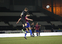Stuart Findlay climbs above Michael Fulton to head clear in the St Mirren v Celtic Clydesdale Bank Scottish Premier League U20 match played at St Mirren Park, Paisley on 18.12.12.