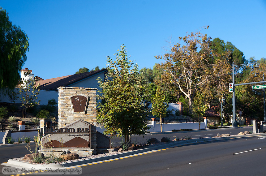 """Perspective shot on the location of the Diamond Bar entrance sign on Grand Ave.  This was part of the 2015 rebuild of the Grand Avenue and Longview Drive intersection for Diamond Bar's 2015 """"Grand Avenue Beautification"""" project, landscape architecture for the project was by David Volz Design."""