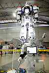 "A SoftBank robot Pepper and life-size model of INGRAM AV-98 of the action movie ""THE NEXT GENERATION - PATLABOR"" on display during the Niconico Douga fan event at Makuhari Messe International Exhibition Hall on April 25, 2015, Chiba, Japan. The event includes special attractions such as J-pop concerts, Sumo and Pro Wrestling matches, cosplay and manga and various robot performances and is broadcast live on via the video-sharing site. Niconico Douga (in English ""Smiley, Smiley Video"") is one of Japan's biggest video community sites where users can upload, view, share videos and write comments directly in real time, creating a sense of a shared watching. According to the organizers more than 200,000 viewers for two days will see the event by internet. The popular event is held in all 11 halls of the huge Makuhari Messe exhibition center from April 25 to 26. (Photo by Rodrigo Reyes Marin/AFLO)"