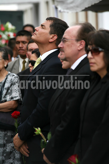 President Of Ecuador Rafael Correa, at the funeral of Minister od Deffence of Ecuador, after a tragic death in an helicopter crash in Manta Ecuador last nigth. The Mass was given on the Military School in Quit Ecuador in Presence of Family , friends and members of the new goverment.
