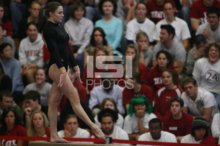 13 January 2008: Stanford Cardinal Stephanie Gentry during Stanford's 196.875-196.150 loss against the Georgia Gym Dogs (Bulldogs) at Burnham Pavilion in Stanford, CA.