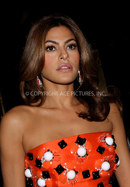 WWW.ACEPIXS.COM . . . . .  ....May 7 2012, New York City....Eva Mendes leaves her hotel on the way to the Met Gala on May 7 2012 in New York City....Please byline: NANCY RIVERA- ACEPIXS.COM.... *** ***..Ace Pictures, Inc:  ..Tel: 646 769 0430..e-mail: info@acepixs.com..web: http://www.acepixs.com