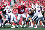 Wisconsin Badgers offensive lineman Jason Erdmann (78) during an NCAA College Football game against the Florida Atlantic Owls Saturday, September 9, 2017, in Madison, Wis. The Badgers won 31-14. (Photo by David Stluka)