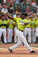Estevan Florial of the Charleston RiverDogs participates in the first round of the Home Run Derby as part of of the South Atlantic League All-Star Game festivities on Monday, June 19, 2017, at Spirit Communications Park in Columbia, South Carolina. (Tom Priddy/Four Seam Images)