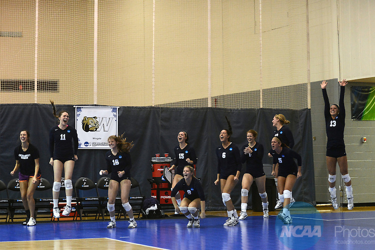08 DEC 2012: Concordia University-St. Paul players celebrate as they take on the University of Tampa during the Division II Women's Volleyball Championship held at the West Florida Field House in Pensacola, FL. Concordia defeated Tampa 3-2 to become national champions. Peter Lockley/NCAA Photos