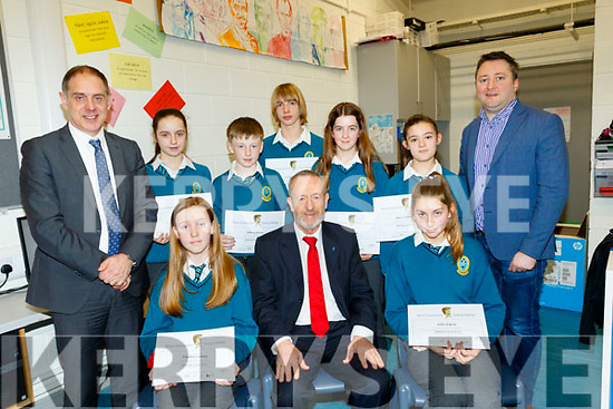 Mercy Mount Hawk, Tralee students, Seated L-R Claudia Crowley, Sean Kelly MEP and Kaila Sugrue, back L-R Pat Fleming, Deputy Principal, Chloe Devane, Odhran Kerins, Coren Hughes, Ava McGough, Keira Frampton and technology teacher Will Nolan, who were the top performing students in the school on BEBRAS Computational thinking challenge, received their certs from Sean Kelly MEP last Friday morning at the school.
