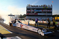 Aug 15, 2014; Brainerd, MN, USA; NHRA top fuel dragster driver Morgan Lucas during qualifying for the Lucas Oil Nationals at Brainerd International Raceway. Mandatory Credit: Mark J. Rebilas-USA TODAY Sports