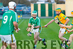 Jack Goulding, Ballyduff gets his pass away to no9 Michael Boyle as Brendan Harris for kilmoyley closes in during the Rhyno Quality Feeds sponsored North Kerry Senior hurling Championship final last Saturday evening in Abbeydorney.