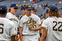 Michigan Wolverines designated hitter Dominic Clementi (13) before Game 11 of the NCAA College World Series against the Texas Tech Red Raiders on June 21, 2019 at TD Ameritrade Park in Omaha, Nebraska. Michigan defeated Texas Tech 15-3 and is headed to the CWS Finals. (Andrew Woolley/Four Seam Images)
