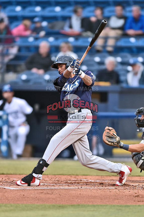 Lakewood BlueClaws right fielder Jose Pujols (23) swings at a pitch during a game against the Asheville Tourists at McCormick Field on May 4, 2016 in Asheville, North Carolina. The Tourists defeated the BlueClaws 2-0. (Tony Farlow/Four Seam Images)