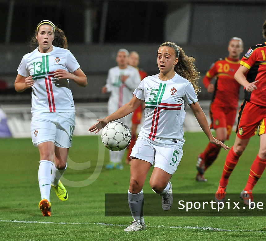 20131031 - ANTWERPEN , BELGIUM : Portugese Matilde Fidalgo (5) pictured during the female soccer match between Belgium and Portugal , on the fourth matchday in group 5 of the UEFA qualifying round to the FIFA Women World Cup in Canada 2015 at Het Kiel stadium , Antwerp . Thursday 31st October 2013. PHOTO DAVID CATRY