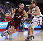 SIOUX FALLS, SD: MARCH 7: Jenna Gunn #32 of IUPUI drives on Morgan Blumer #12 of Western Illinois during the Women's Summit League Basketball Championship Game on March 7, 2017 at the Denny Sanford Premier Center in Sioux Falls, SD. (Photo by Dick Carlson/Inertia)