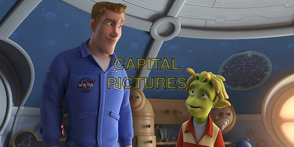 "SCENE - ""Chuck"" voiced by Dwayne ""The Rock"" Johnson & ""Lem"" voiced by Justin Long .in Planet 51 .*Filmstill - Editorial Use Only*.CAP/FB.Supplied by Capital Pictures."