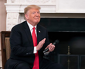 United States President Donald J. Trump attends the Our Pledge to America's Workers event at The White House in Washington, DC,  October 31, 2018. Credit: Chris Kleponis / Pool via CNP